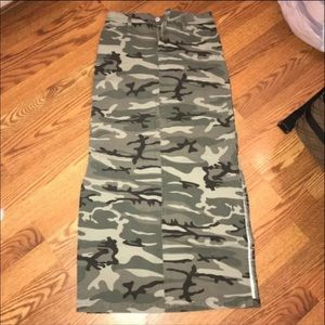 Camo High Slit Skirt